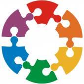 Cercle de six couleurs de puzzle. Illustration vectorielle. — Vecteur