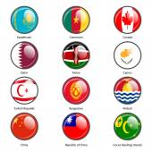 Set circle icon  Flags of world sovereign states. Vector illustr — Stock Vector