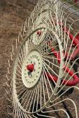New hay raker farm equipment. Agricultural machinery — Stock Photo