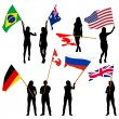Black silhouettes of  mans and womans with flags on white backgr — Stock Vector #71233227