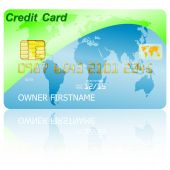 Green credit card with shadow over wite background. Vector illus — Vettoriale Stock
