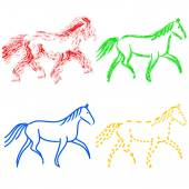 Set  colors horses outlines. vector collection — Stock Vector