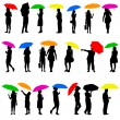 Set   silhouettes of men and women with umbrellas. Vector illust — Stock Vector #71743577