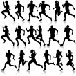 Set of silhouettes. Runners on sprint, men. vector illustration. — Stock Vector #71744357