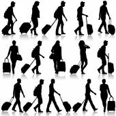 Black silhouettes travelers with suitcases on white background. — Stock Vector