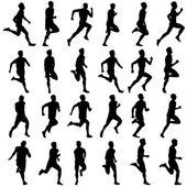Satz von Silhouetten. Läufer auf Sprint, Männer. Vektor-illustration. — Stockvektor