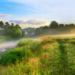 Panorama of a summer landscape with sunrise, fog and the river — Stock Photo #54169147