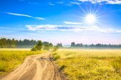 Summer rural landscape with a field, sunrise and  road — Stock Photo
