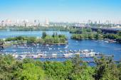 View from above to the left bank of Dniper river, Kyiv, Ukraine — Stock Photo