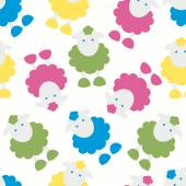 Kids pattern with lambs — Stock Vector