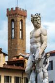 Renaissance statue of Neptune on the in Piazza della Signoria in — Stock Photo