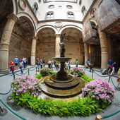 Ornate courtyard in the Palazzo Vecchio in Florence — Stock Photo