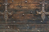 Medieval wooden wall of the house on the Ponte Vecchio in Floren — Stock Photo