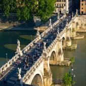 Ponte Sant Angelo (Bridge of Angels) at sunset, Rome — Stock Photo
