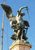 Saint Michael statue at top of Castel Sant Angelo in Rome — Stock Photo