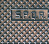 SPQR, typical manhole cover in Rome — Stock Photo