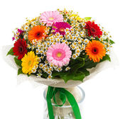 Bouquet of colorful gerberas and daisies — Stock Photo