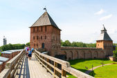 The walls of the Kremlin in Novgorod the Great — Стоковое фото