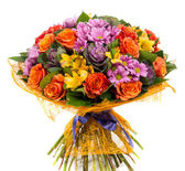 Bouquet of natural orange roses and colorful flowers — Stock Photo