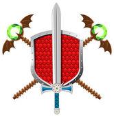 Fantasy Set with Shield, Sword nd Magic Staffs — Vecteur
