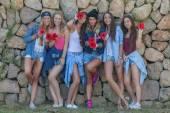 Fashion denim teens happy group — Stock Photo