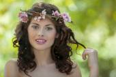 Spring woman in nature — Stock Photo