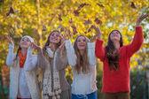 Happt autumn teens leaves — Stock Photo