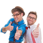 Humour, business men with thumbs up for success — Stock Photo