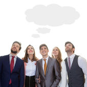 Business team with ideas thought cloud — Stock Photo