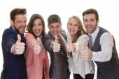 Business team group with thumbs up — Stock Photo