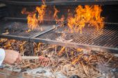 Wood BBQ barbeque preparation — Stock Photo