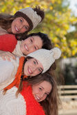Group of happy autumn kids — Stock Photo