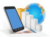 Business su mobile — Vettoriale Stock