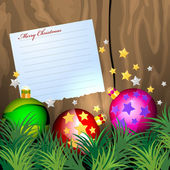 Notepaper with Christmas balls — Stock Vector