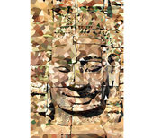 Baixa poli rosto de Buddha — Vetor de Stock