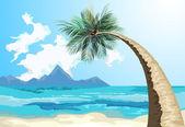 Palme am strand — Stockvektor