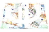 The Euro symbol on the banknotes — Stock Photo