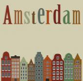 Old colourful houses of the city of Amsterdam. — Stock Vector