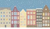 Street, houses of the old city and snow. — Stok Vektör