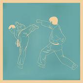 Two men are engaged karate, an illustration. — Stockvektor