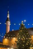 Christmas tree at Town Square. Night — Zdjęcie stockowe