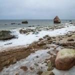 Baltic Sea coast in winter cloudy weather — Stock Photo #59716283