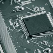 With the integrated circuit, close-up — Stock Photo