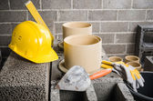 Parts and tools for the construction of modular ceramic chimney in the house — ストック写真