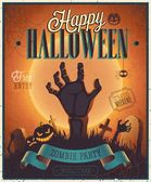 Halloween Zombie Party Poster.  — Stock Vector