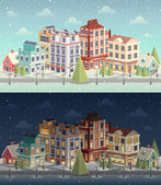 Christmas vintage cityscape and snowfall.  — Stock Vector