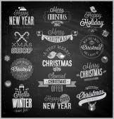 Christmas set - labels, emblems and other decorative elements — Stock vektor