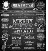 Christmas set - labels, emblems and other decorative elements - Chalkboard. — Stock Vector