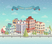 Christmas cityscape and snowfall. Vector illustration. — Stock Vector