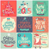 Christmas set - labels, emblems and other decorative elements. — Stock Vector
